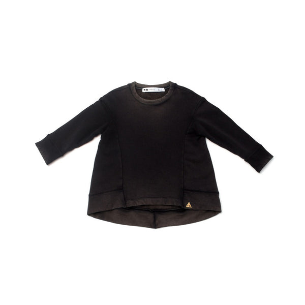 OMAMImini Vintage Wash Structured Sweatshirt | Black