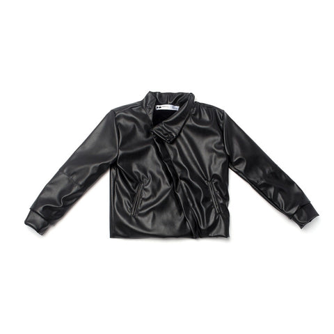 OMAMImini Faux Leather Moto Jacket with Faux Fur Lining