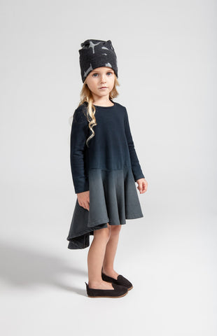 OMAMImini High-low Ombre Dress | Black Grey