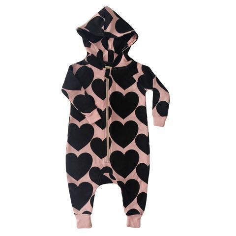 Hugo Loves Tiki Dust Pink/Black Heart Jumpsuit