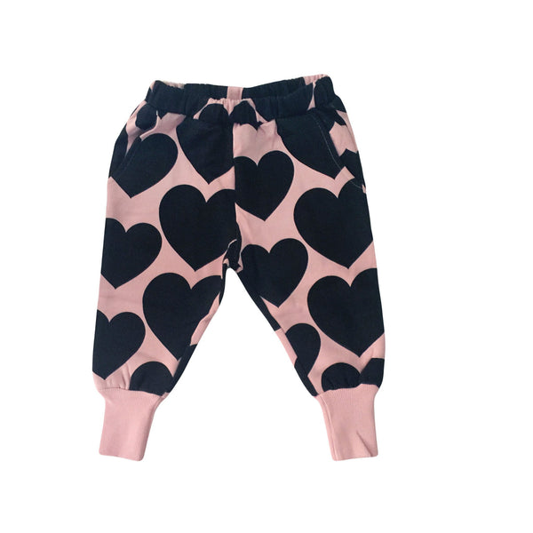 Hugo Loves Tiki Dust Pink/Black Heart Sweat Pants [LAST ONE]