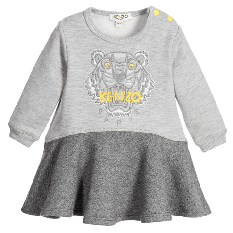 Kenzo Baby Girls Grey 'White Tiger' Sweatshirt Dress