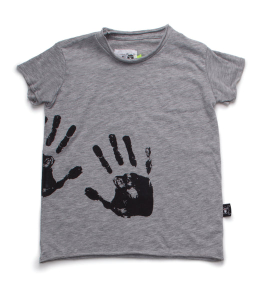 Nununu SS17 Hand Print Raw T-Shirt in Heather Grey