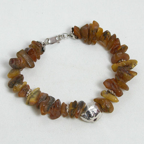 Amber Gemstone and Silver Bracelet (B0004)