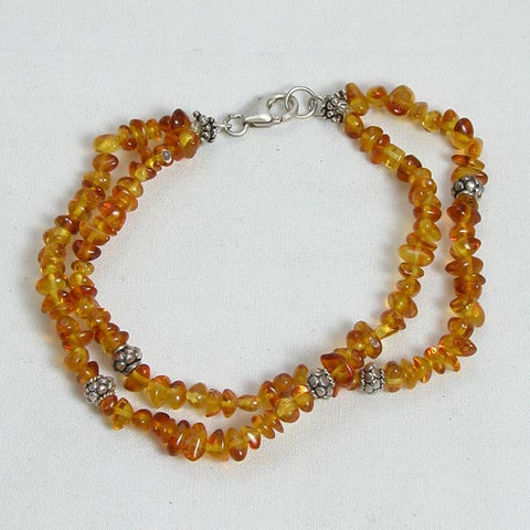 Amber Gemstone and Silver Bracelet (B0002)