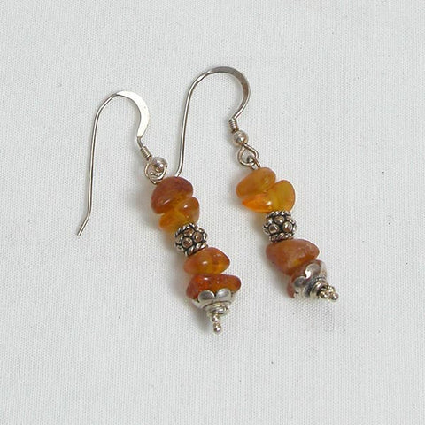 Amber Gemstone and Silver Earrings (E0007)