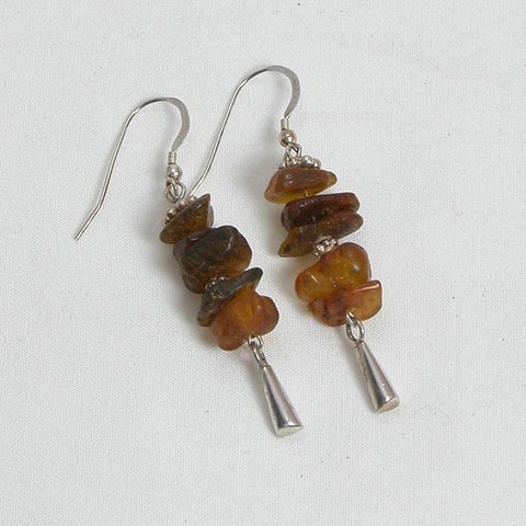 Amber Gemstone and Silver Earrings (E0006)