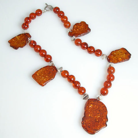 Amber Gemstone and Silver Necklace (N0001)