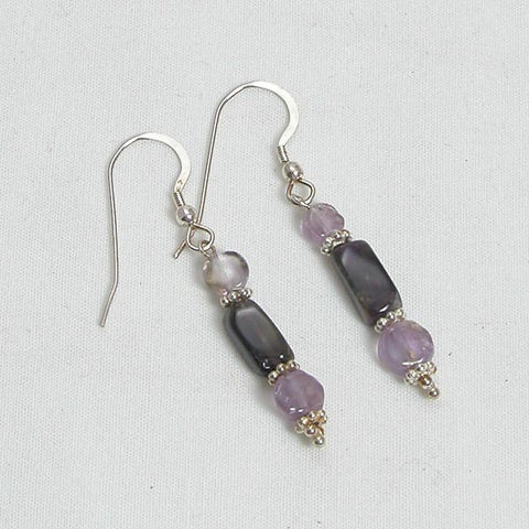 Amethyst Gemstone and Silver Earrings (E0012)