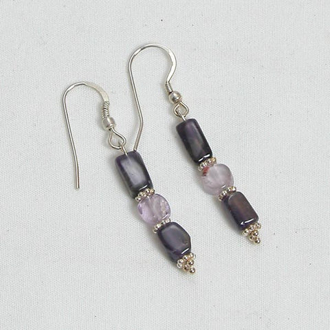 Amethyst Gemstone and Silver Earrings (E0010)