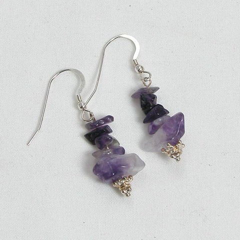 Amethyst Gemstone and Silver Earrings (E0011)