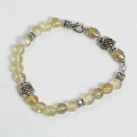Citrine Gemstone and Silver Bracelet (B0031)