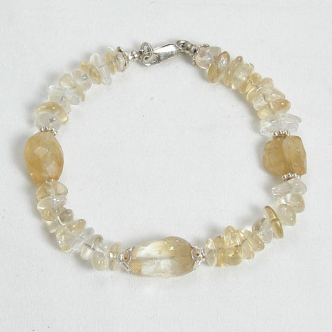 Citrine Gemstone and Silver Bracelet (B0029)