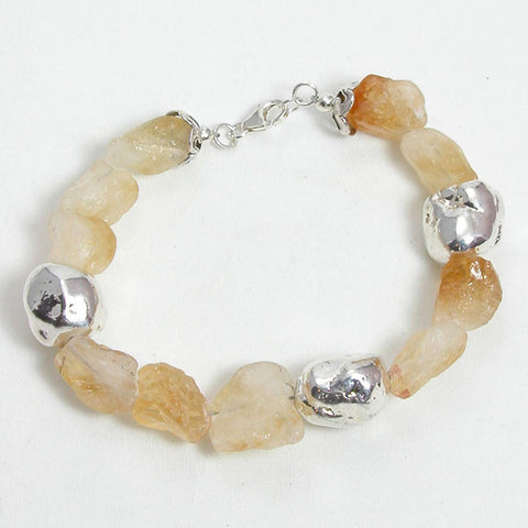Citrine Gemstone and Silver Bracelet (B0028)