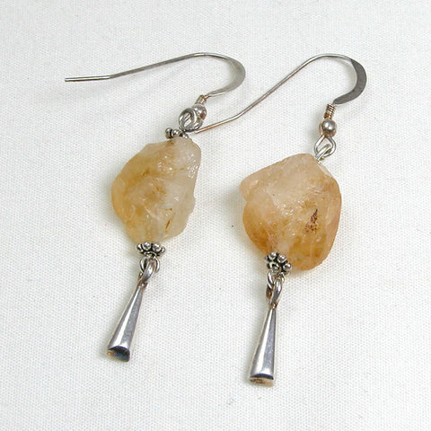 Citrine Gemstone and Silver Earrings (E0038)