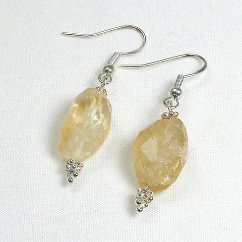 Citrine Gemstone and Silver Earrings (E0039)