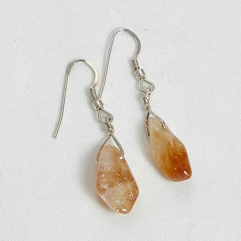 Citrine Gemstone and Silver Earrings (E0041)