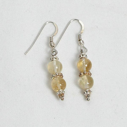Citrine Gemstone and Silver Earrings (E0043)