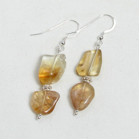 Citrine Gemstone and Silver Earrings (E0040)