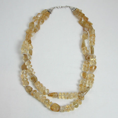 Citrine Gemstone and Silver Necklace (N0011)
