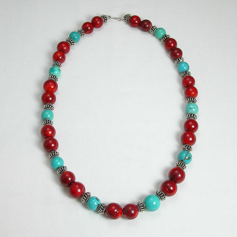 Red Coral and Turquoise Gemstone Necklace (N0038)