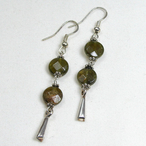 Green Garnet Gemstone and Silver Earrings (E0053)