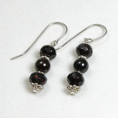 Red Garnet Gemstone and Silver Earrings (E0131)
