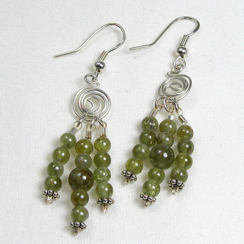 Green Garnet Gemstone Silver Wire Earrings (E0054)