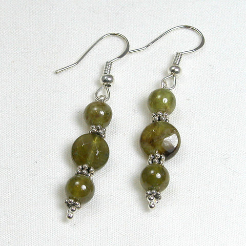 Green Garnet Gemstone and Silver Earrings (E0055)