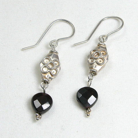 Red Garnet Gemstone and Silver Earrings (E0132)