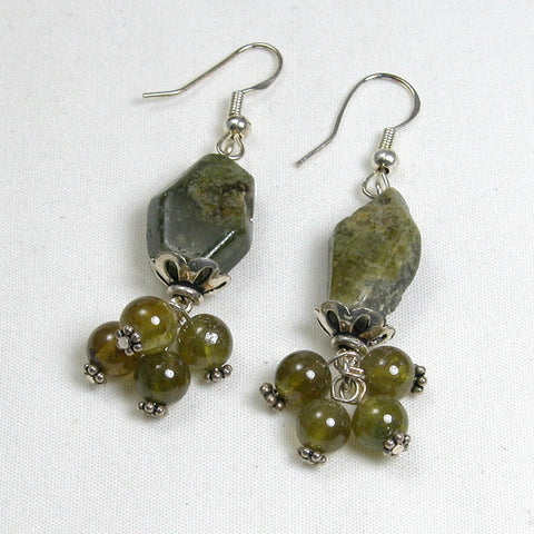 Green Garnet Gemstone and Silver Earrings (E0056)