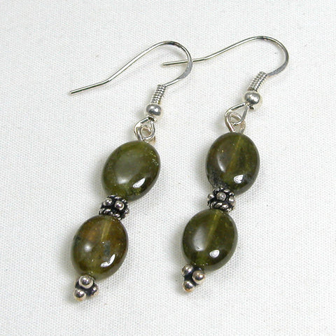 Green Garnet Gemstone and Silver Earrings (E0057)