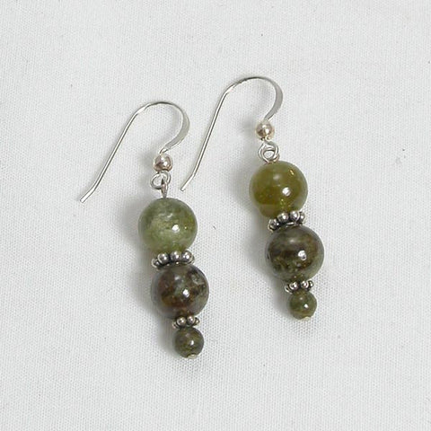 Green Garnet Gemstone and Silver Earrings (E0062)
