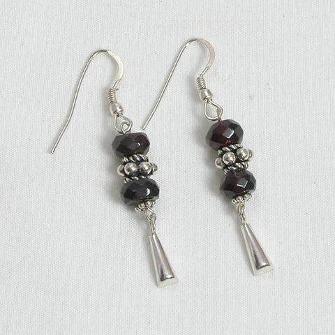 Red Garnet Gemstone and Silver Earrings (E0134)