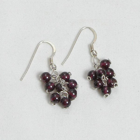 Red Garnet Gemstone and Silver Earrings (E0137)