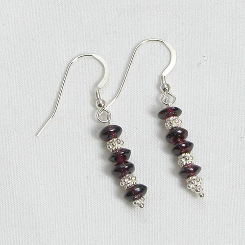 Red Garnet Gemstone and Silver Earrings (E0135)