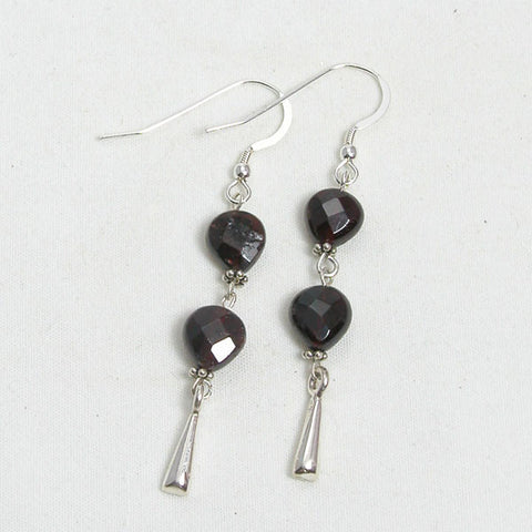 Red Garnet Gemstone and Silver Earrings (E0133)