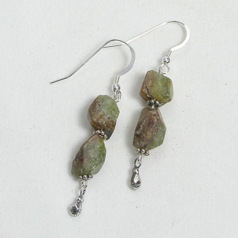 Green Garnet Gemstone and Silver Earrings (E0061)