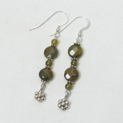 Green Garnet Gemstone and Silver Earrings (E0058)