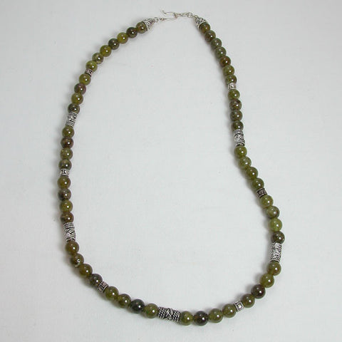 Green Garnet Gemstone and Silver Necklace (N0018)