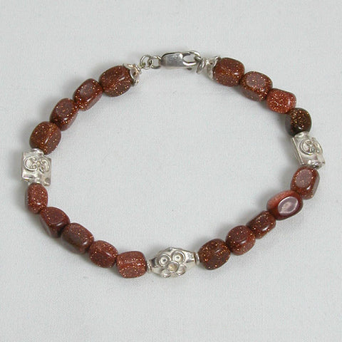 Goldstone Gemstone and Silver Bracelet (B0040)