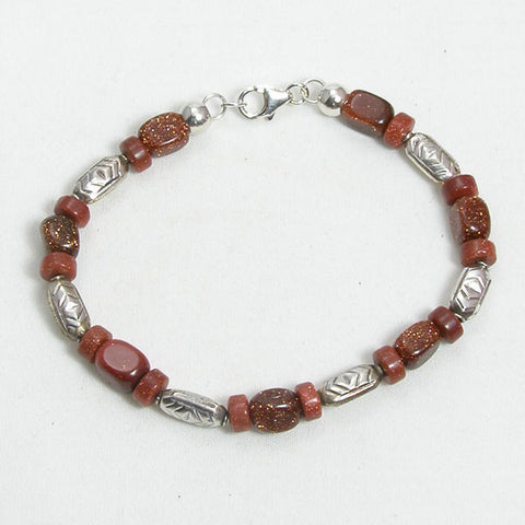 Goldstone Gemstone and Silver Bracelet (B0041)