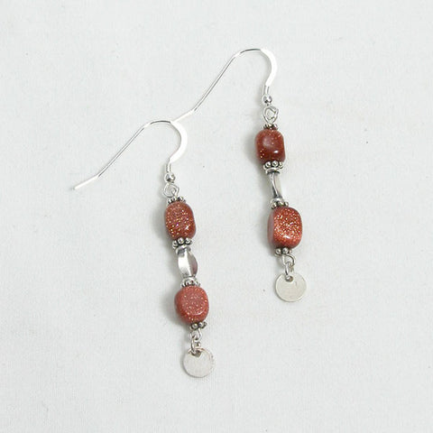 Goldstone Gemstone and Silver Earrings (E0051)