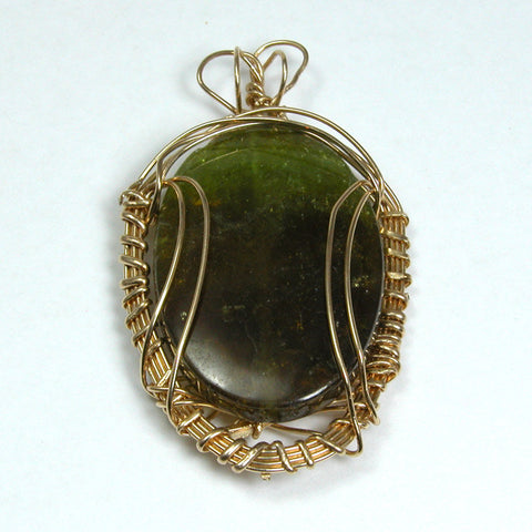 Green Garnet Gemstone Gold-filled Wire Pendant (P1403)