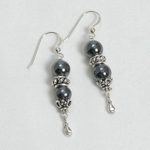Hematite Gemstone and Silver Earrings (E0067)
