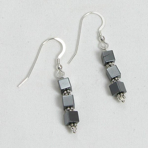 Hematite Gemstone and Silver Earrings (E0065)