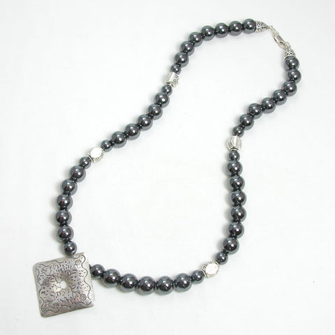 Hematite Gemstone and Silver Necklace (N0019)