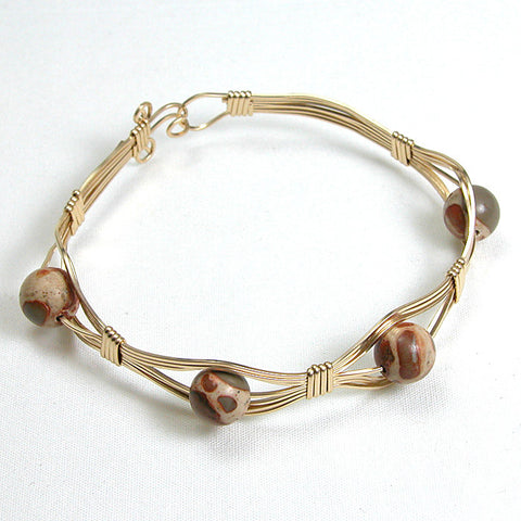 Desert Jasper Gemstone Gold-filled Wire Bracelet (B0037)