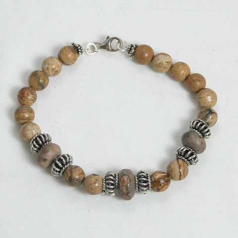 Desert Jasper Gemstone and Silver Bracelet (B0035)