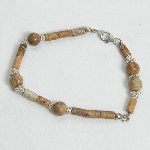 Desert Jasper Gemstone and Silver Bracelet (B0036)